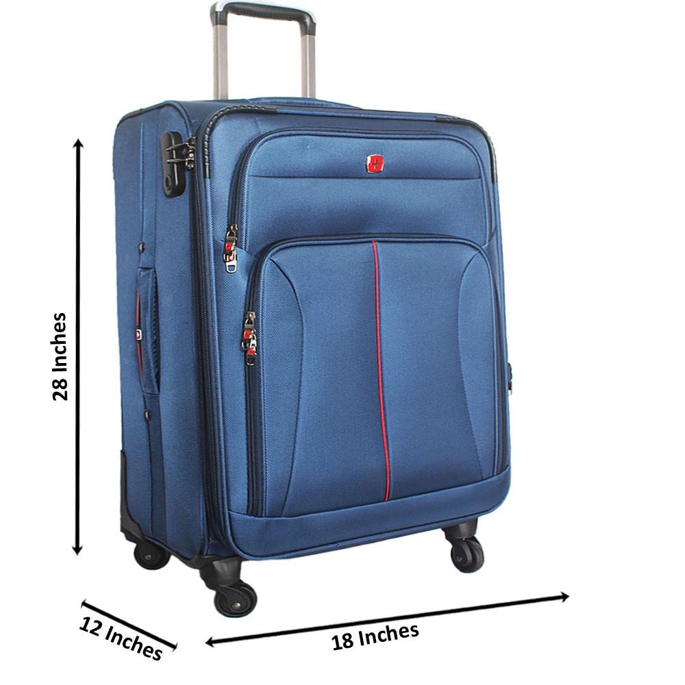 Saint Blue 28 Inch Fabric 4 Wheels Spinners Large Suitcase