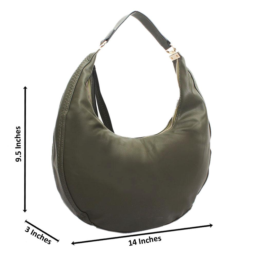 Green Leather Half Moon Handbag