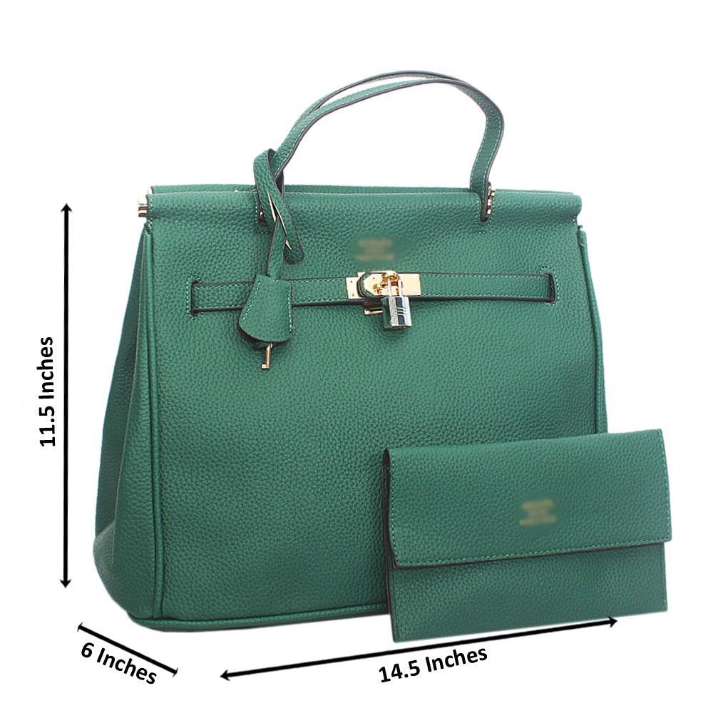 Green Leather Tote Handbag