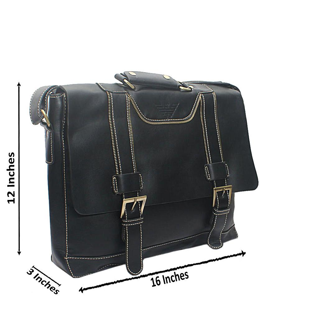 Black Virtigo Leather Messenger Bag