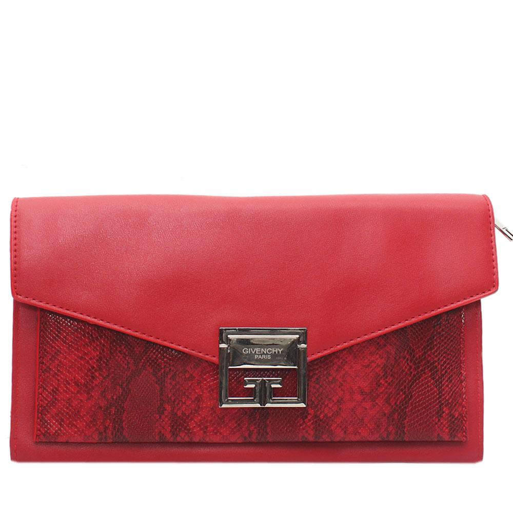 Red Eron Vade Snake Leather Flat Purse