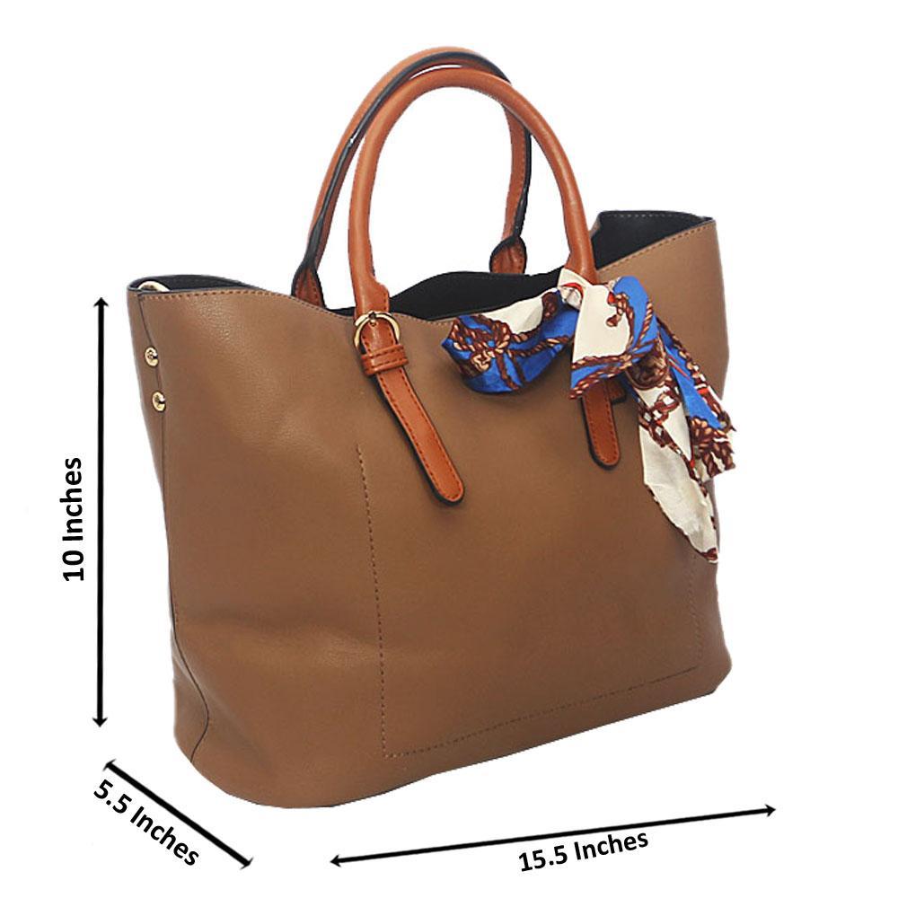 Khaki Brown Zoe Leather Tote Handbag