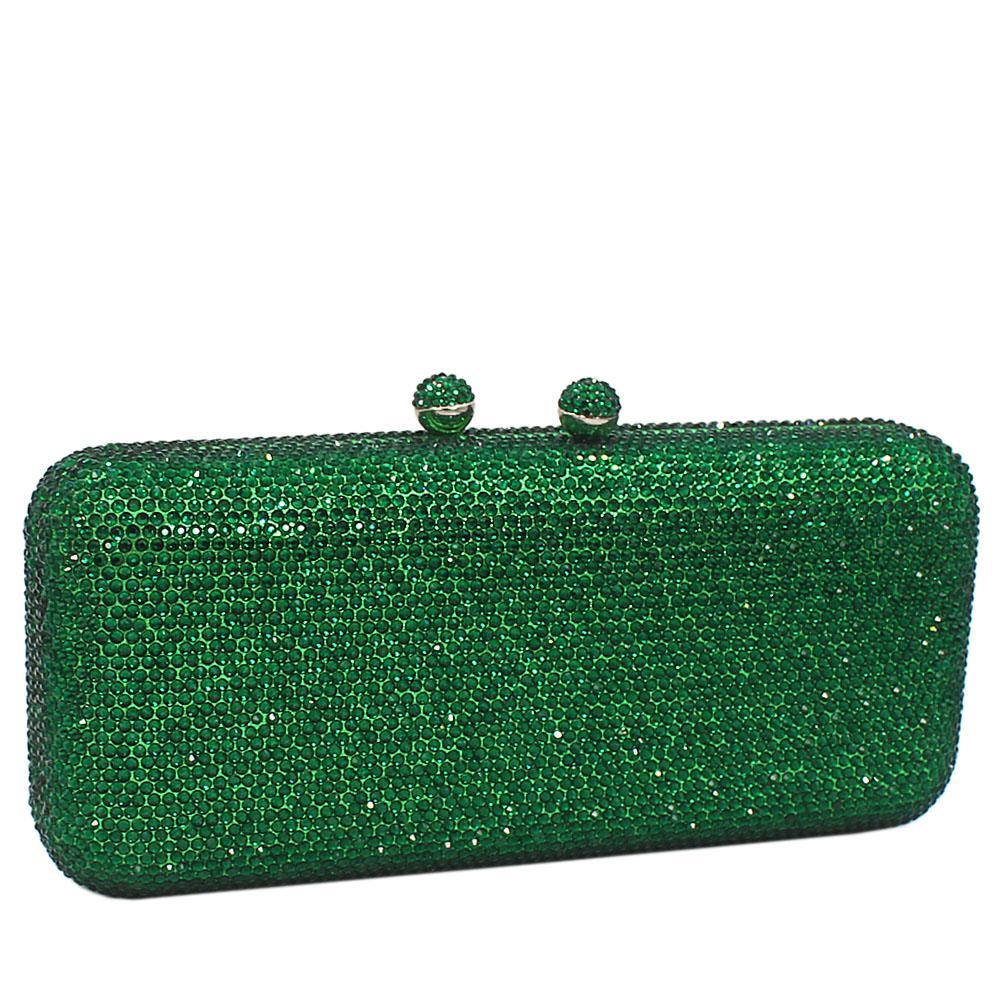 Green Crystals Studded Clutch Purse