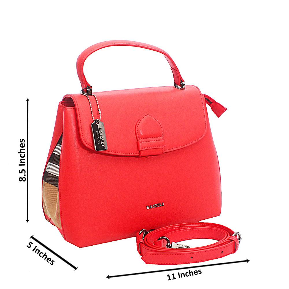 Baizili Red Italian Leather Top Handle Handbag