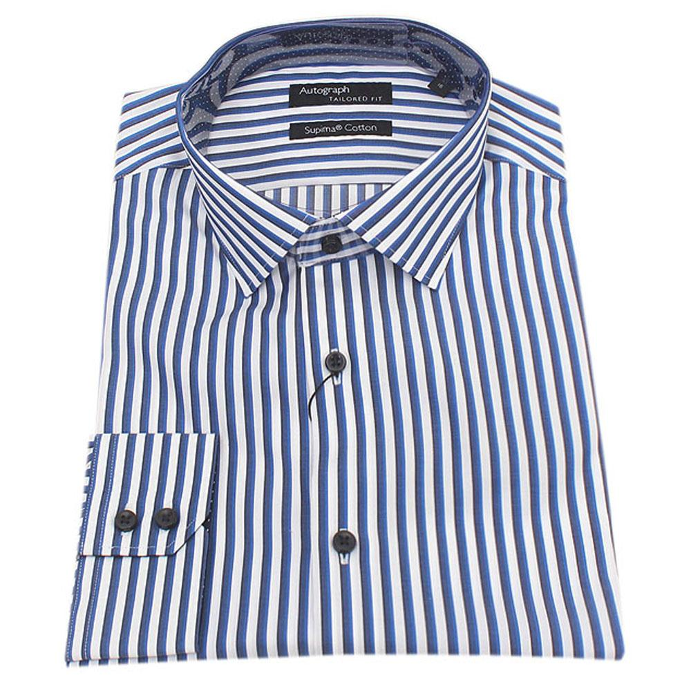 Autograph Blue White Striped Supima  Fit L/Sleeve Men Shirt