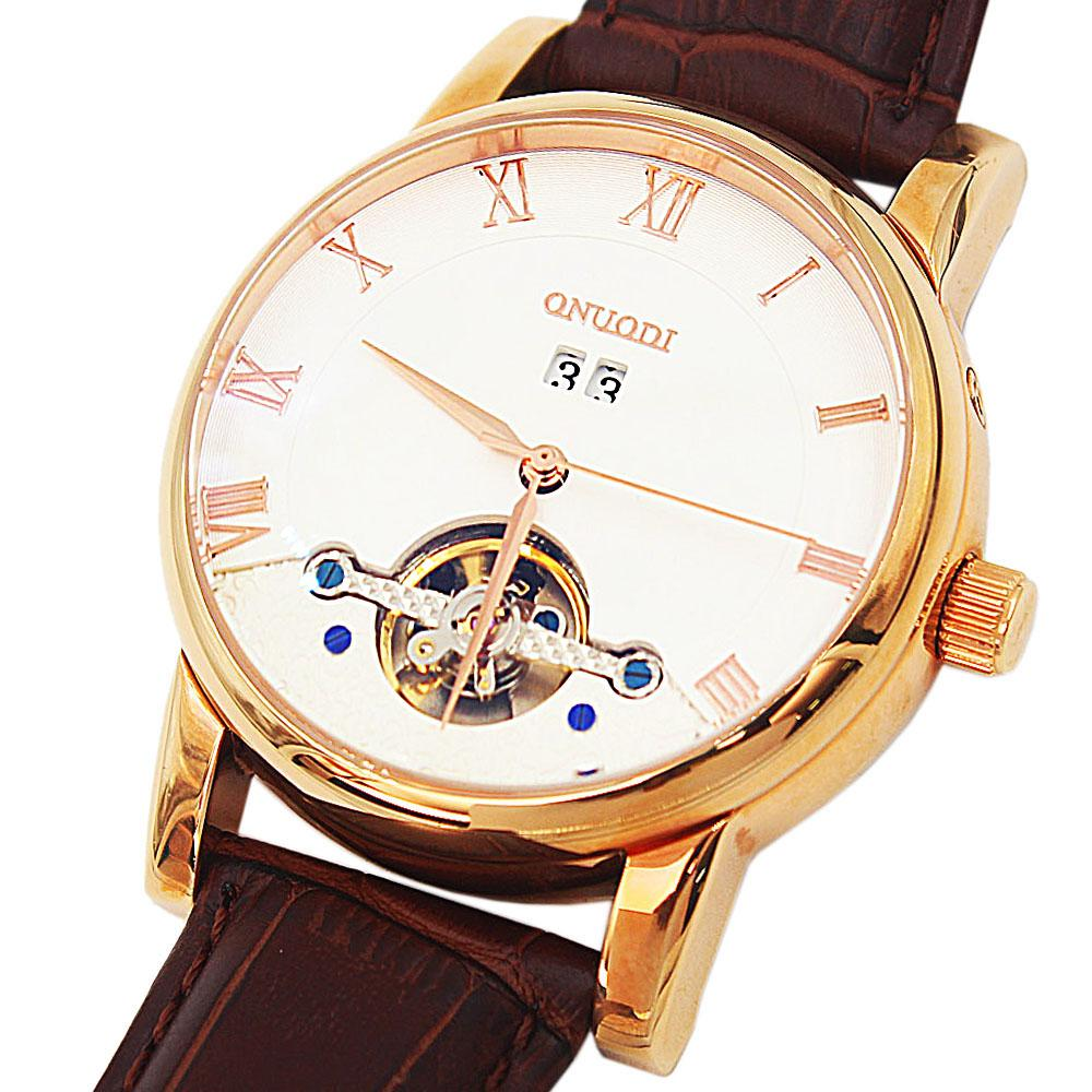 Shanghai Nudi Gold Brown Leather Automatic Date Classic Watch