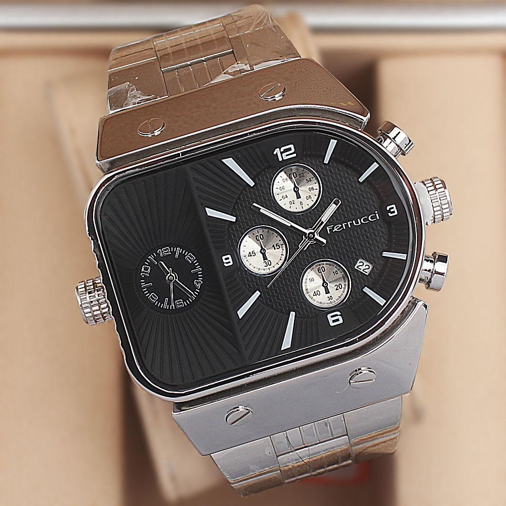 Ferrucci Black Multifunction Diesel Stainless Steel Fashion Watch