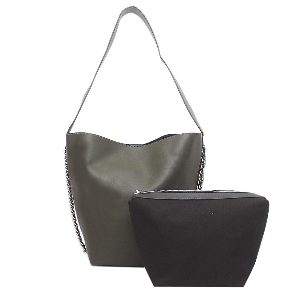 London  Style Green Leather Shoulder Bag