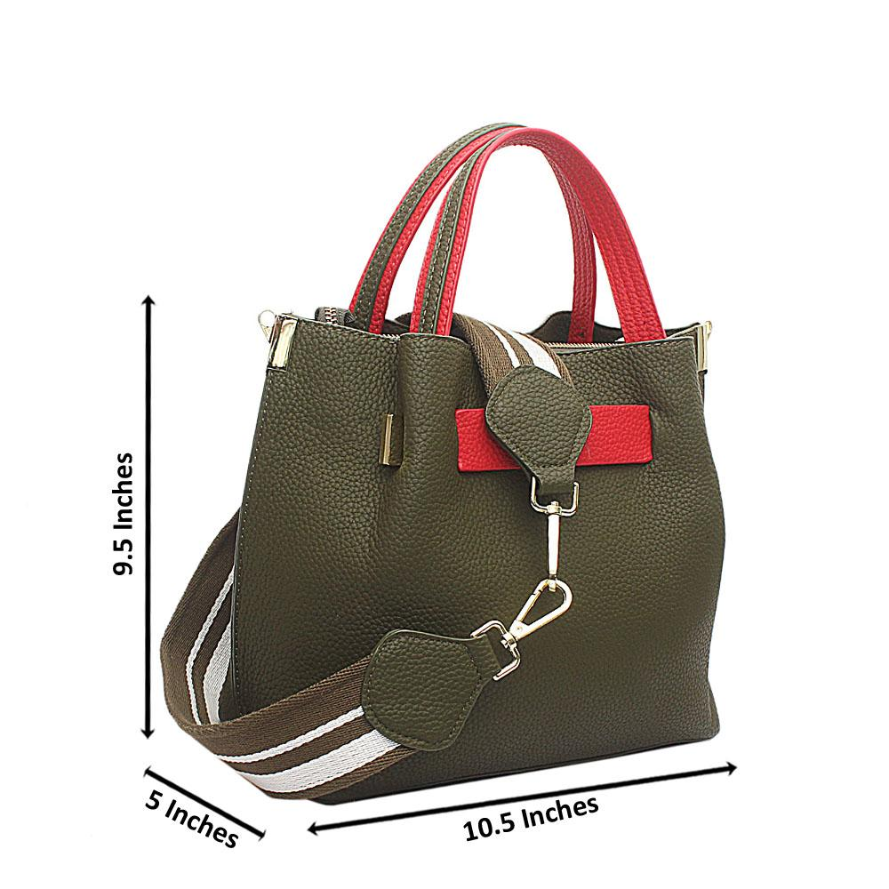 Green Red Leather Small Handbag