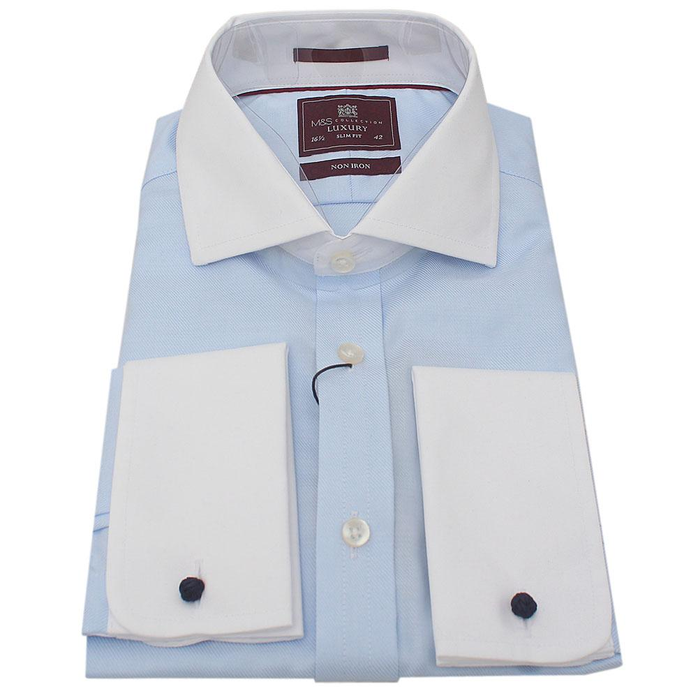 M&S Collection Blue White L/Sleeve Men Shirt