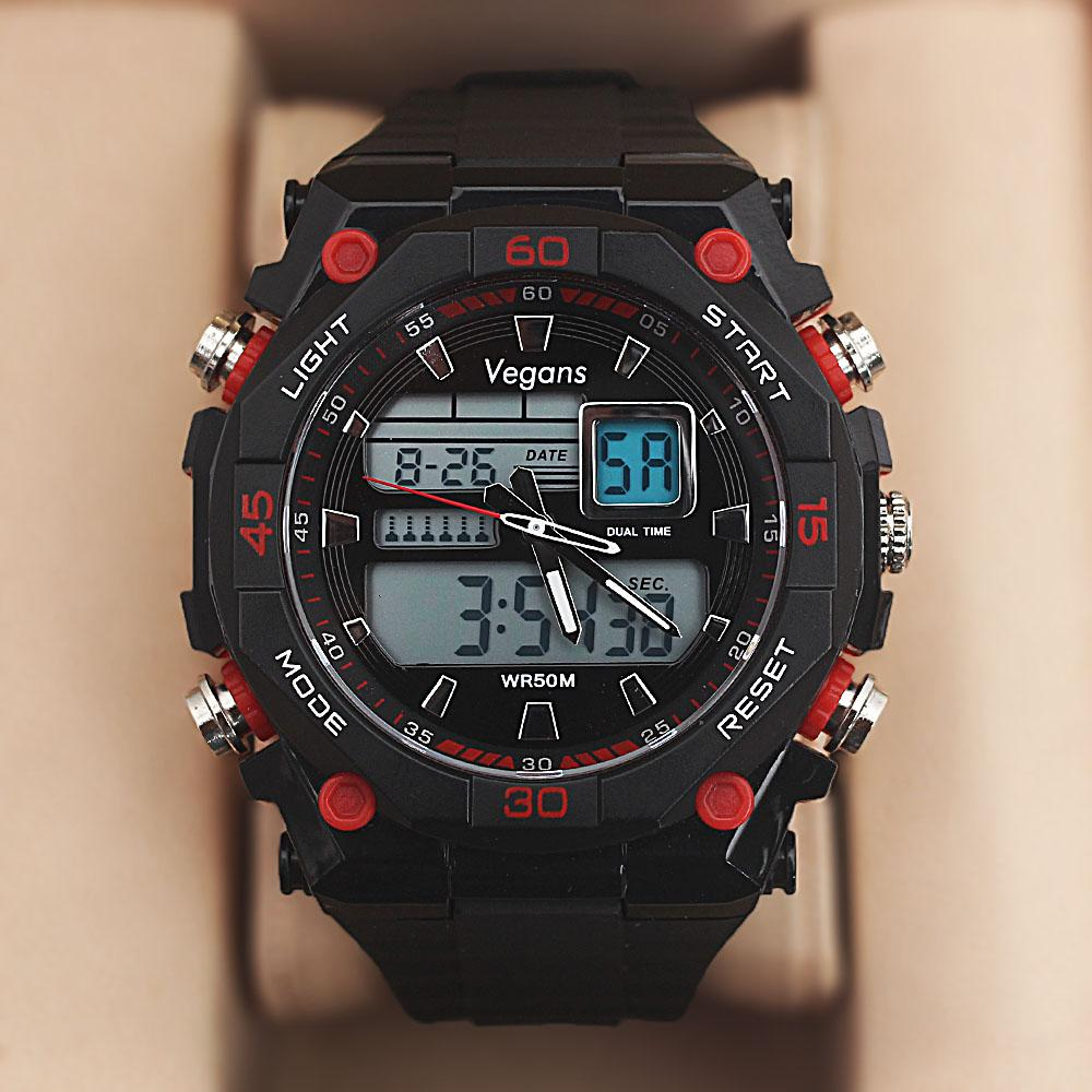 Vegans Black Red Dual Time Watch wt Extra Straps