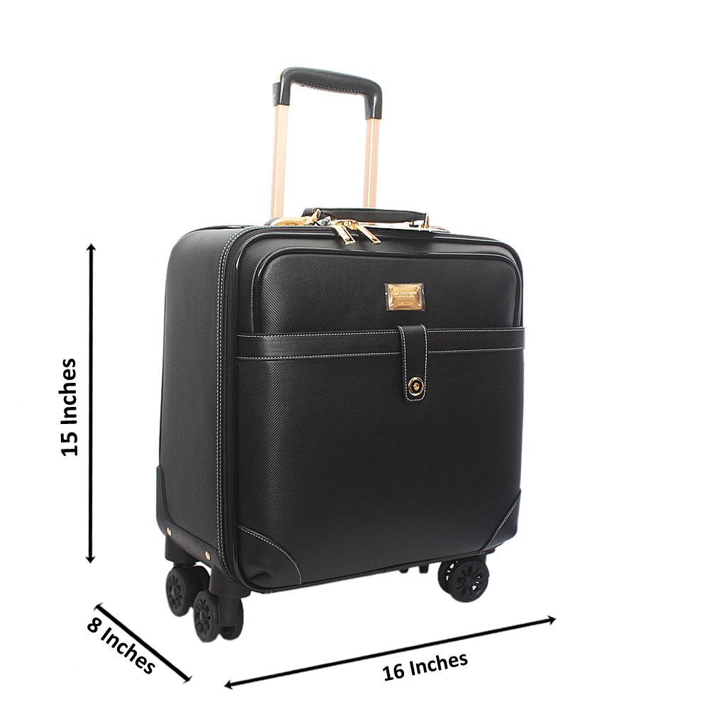 Black Classic Leather 16 Inch Pilot Leather Suitcase Wt Padlock