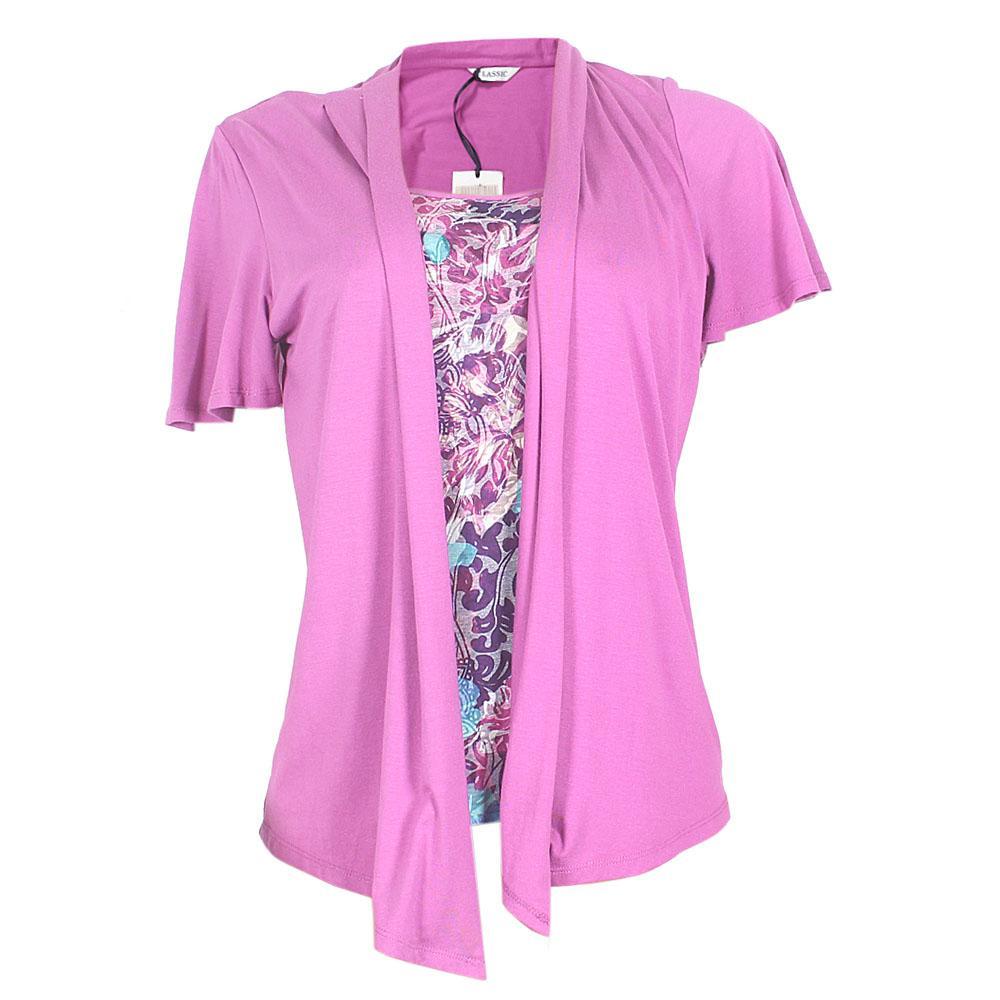 M&S Classic Purple Wt Floral Print Ladies Top