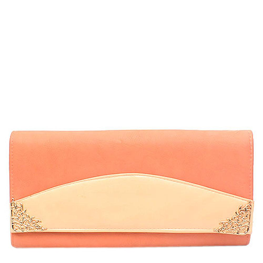 Fashion Peach Gold Leather Clutch Purse