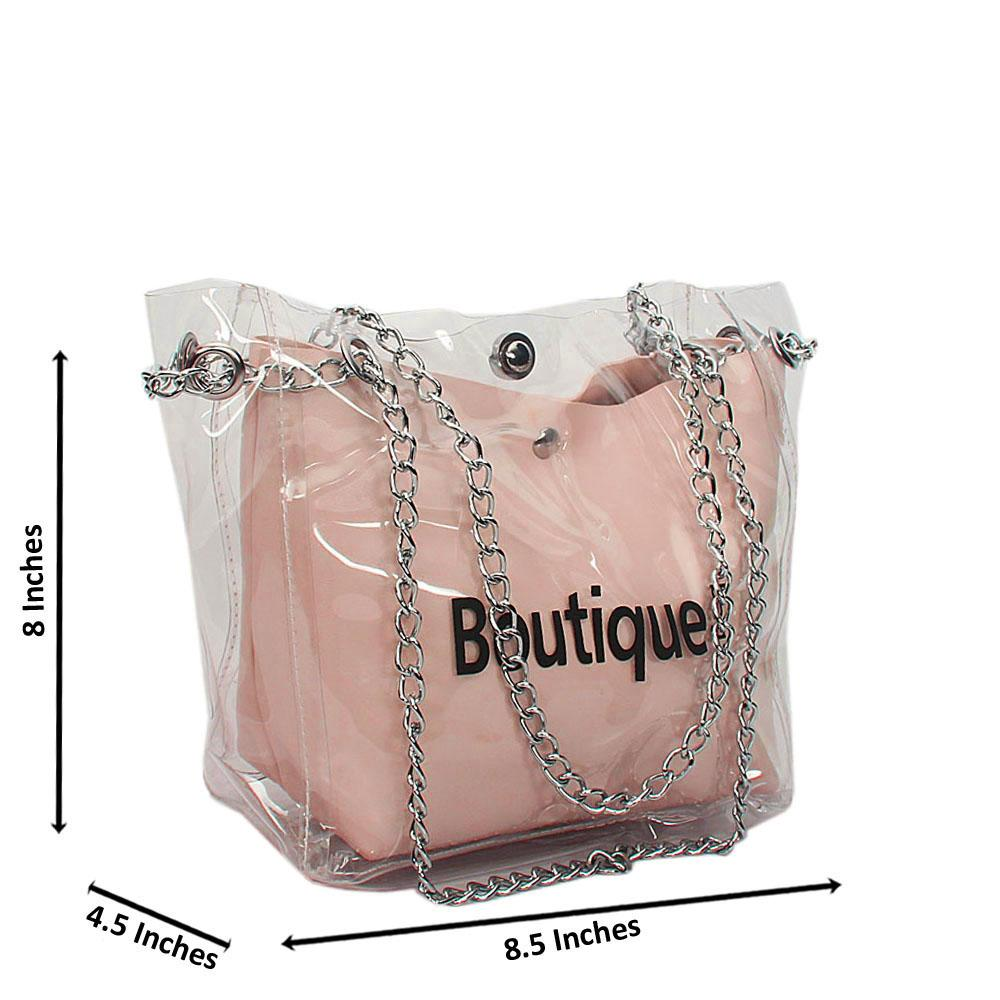 Pink Transparent Ice Rubber Leather Small Chain Handbag