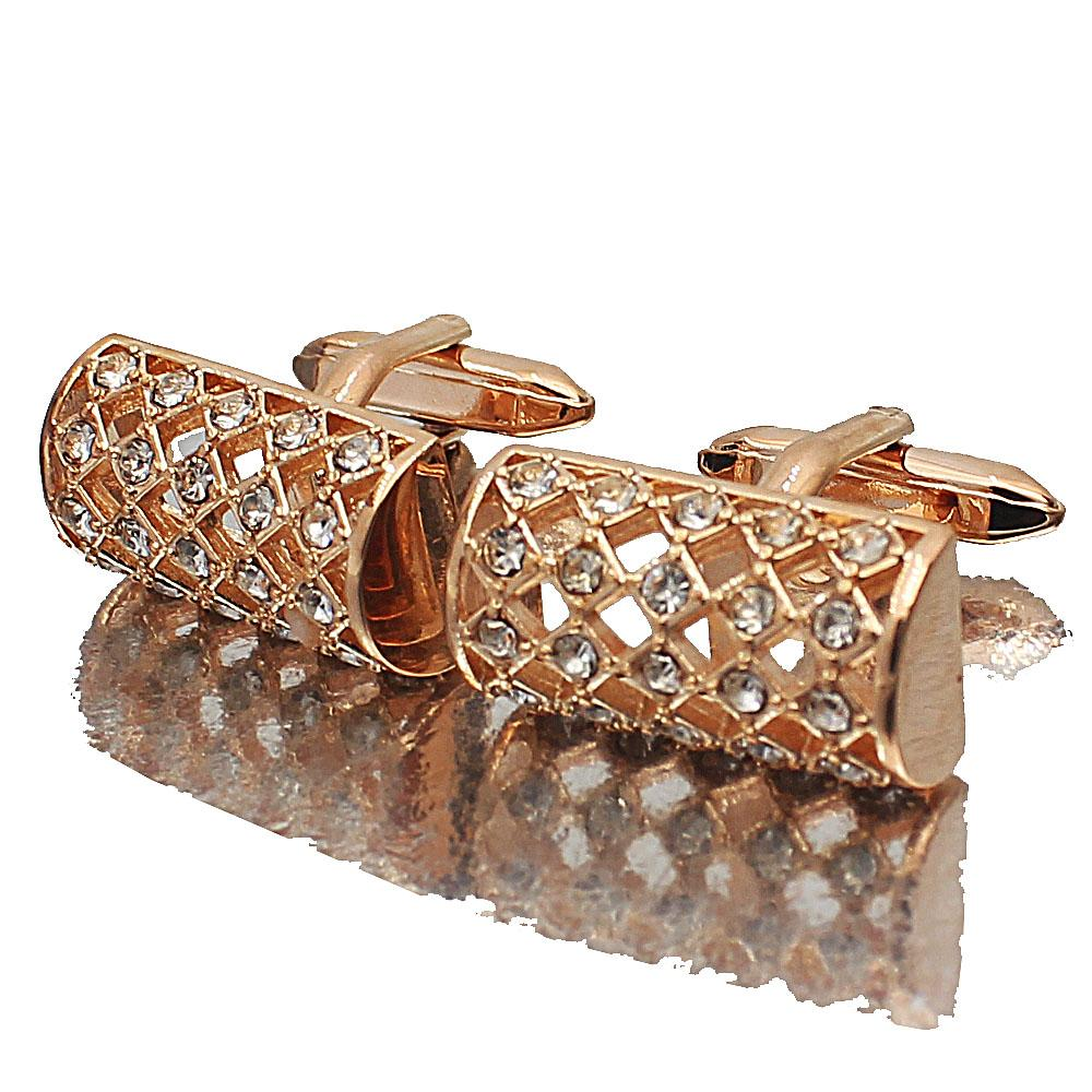 Rose Gold Classic Studded Stainless Steel Cufflinks