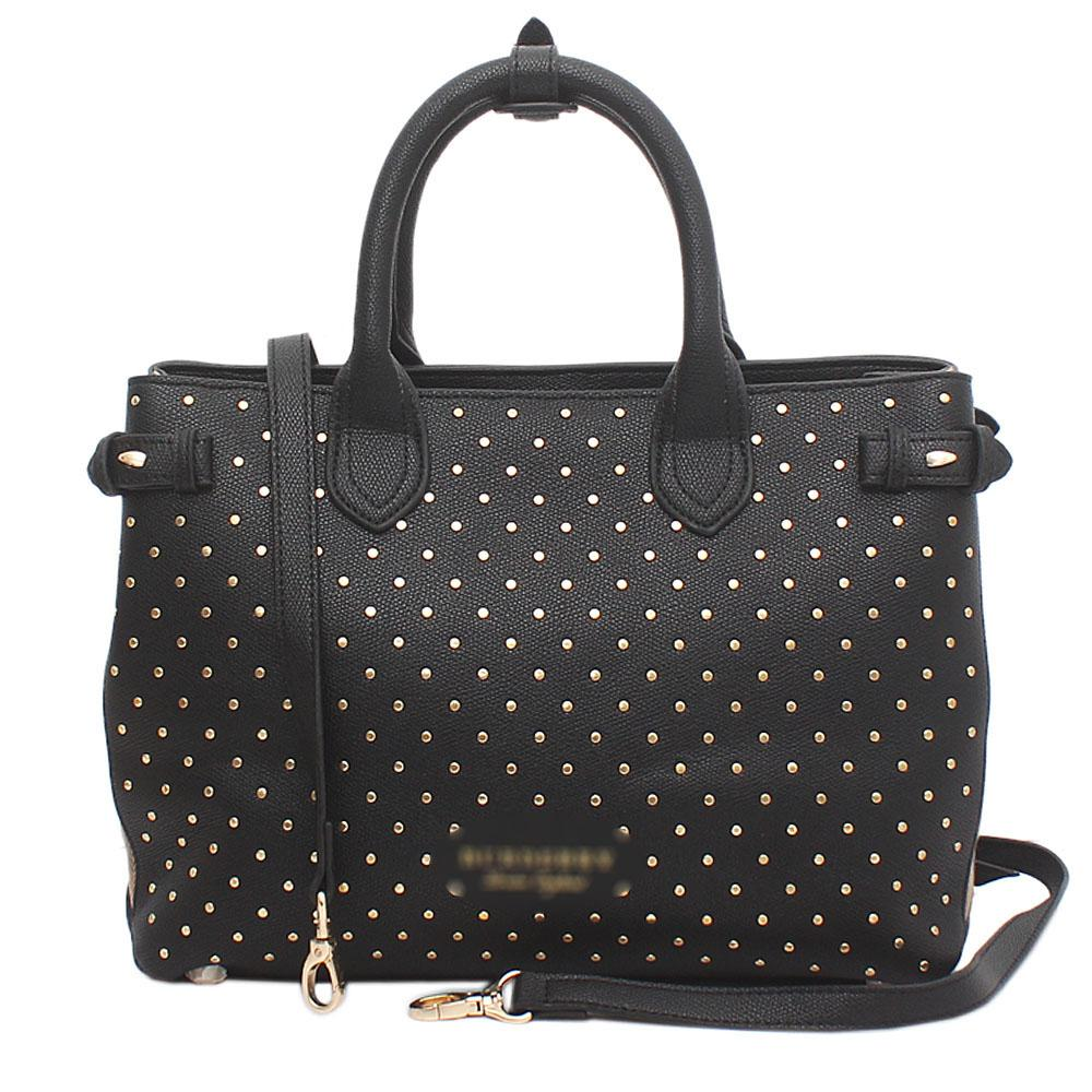 Black Saffiano Leather Studded House Check Bag