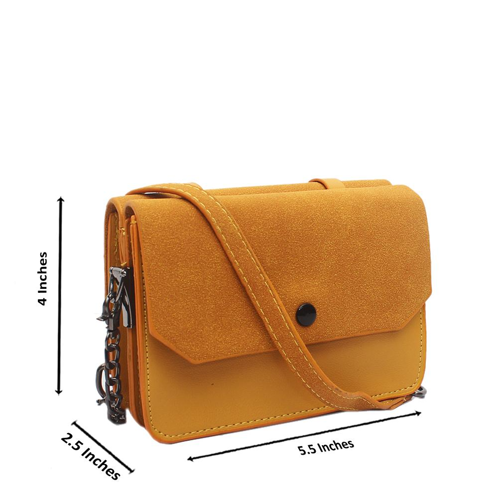 Yellow Leather Mini Crossbody Bag