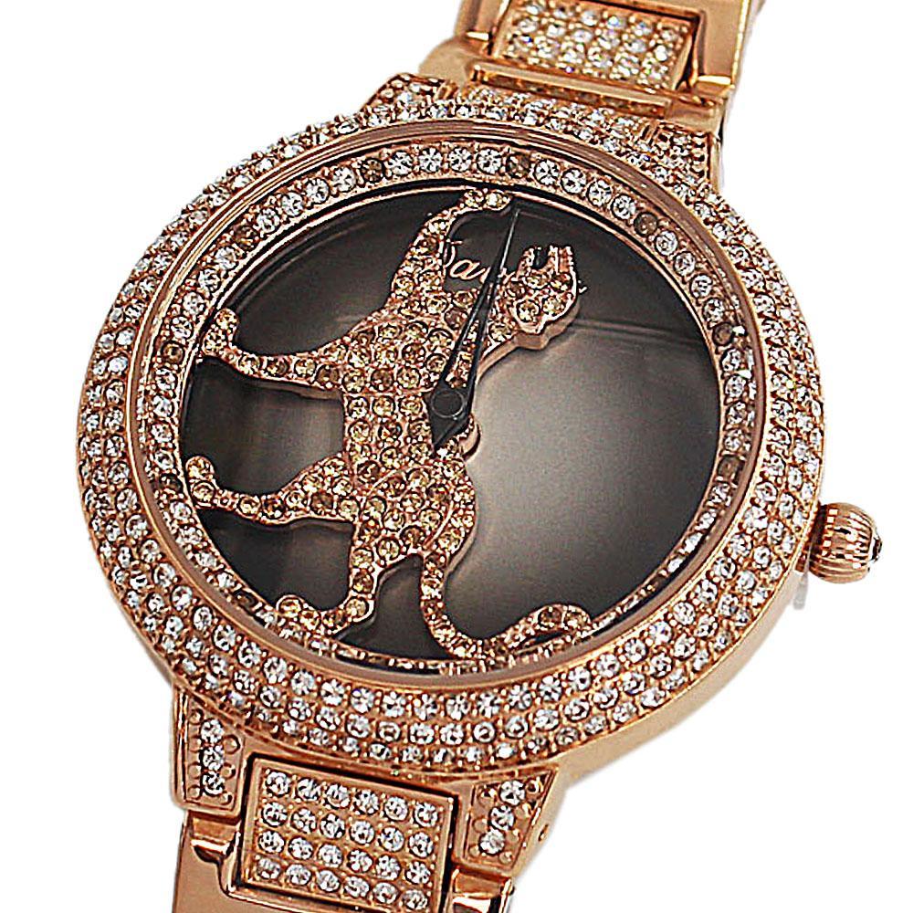 Davena Cheetah wt Austria Crystals Gold Steel Spinner Watch