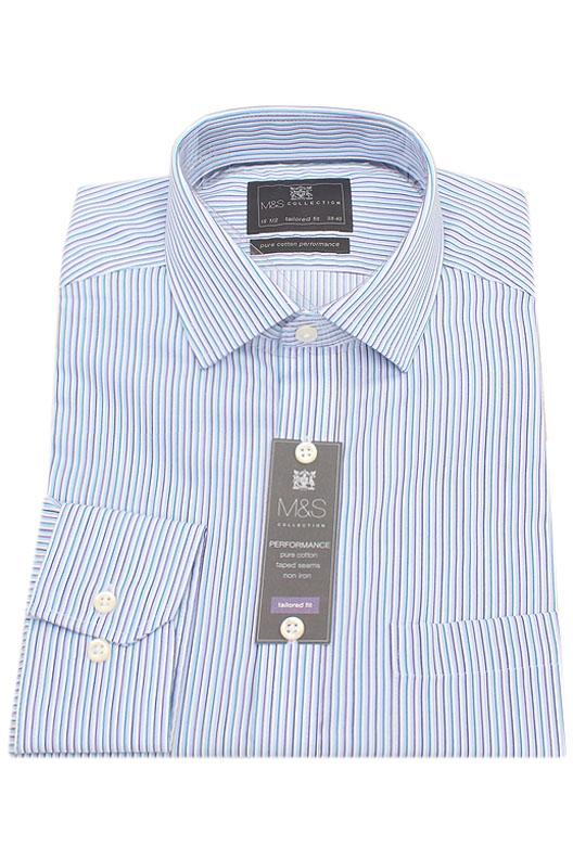 M&S Collection Green Purple Stripe Tailored Fit Men Shirt