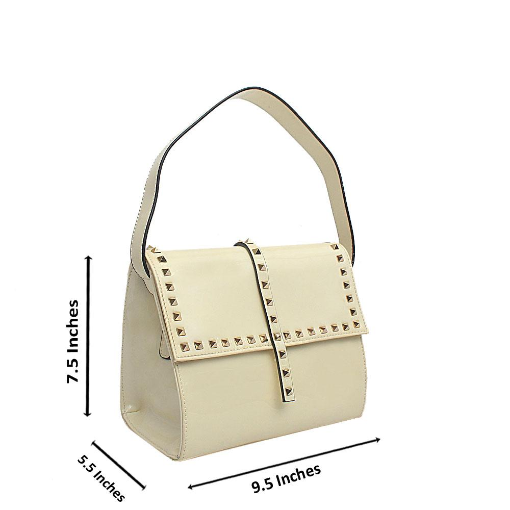 Cream Patent Leather Medium Handbag