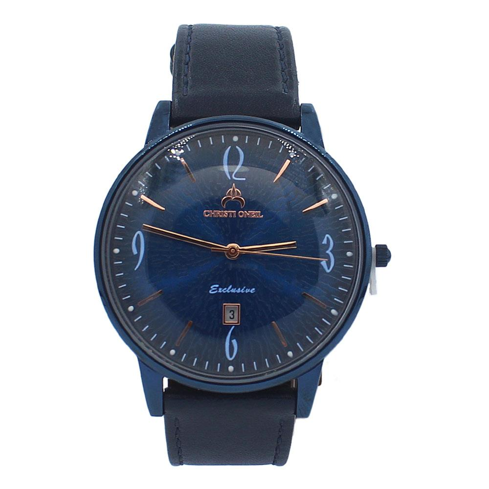 Navy Iconic Leather Flat Watch