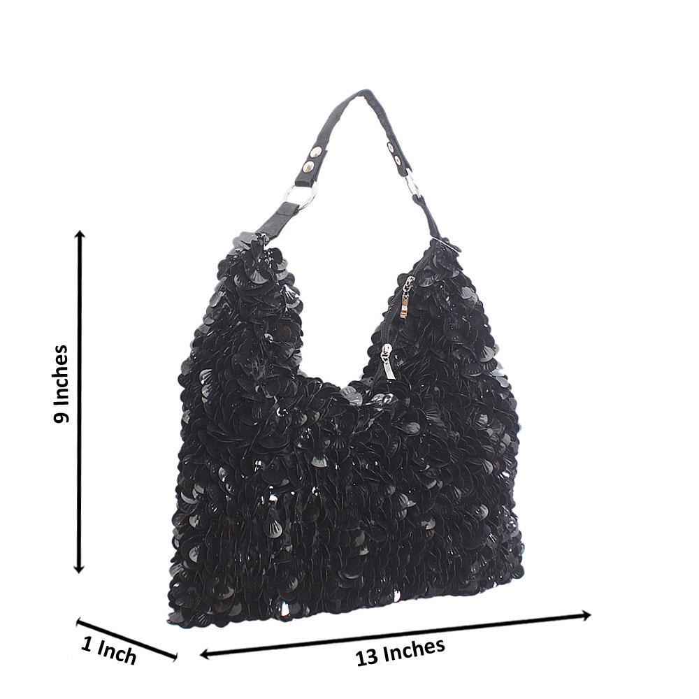 Black Butterfly Sequins Fabric Shoulder Bag