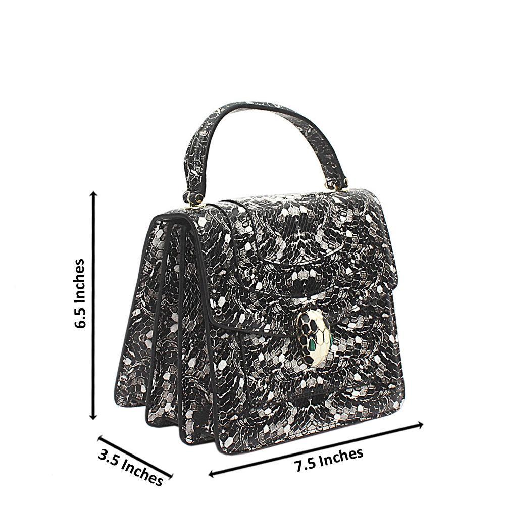 Black Snake Skin Leather Mini Bag
