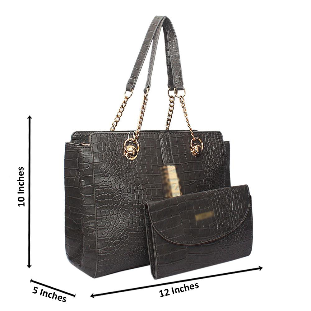 Gray Amora Croc Leather Chain Shoulder Bag