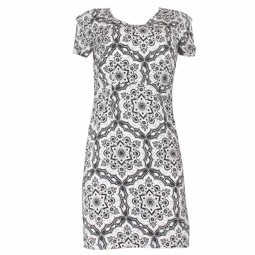 Marks & Spencer Black/White Pattern Ladies Dress-UK 8