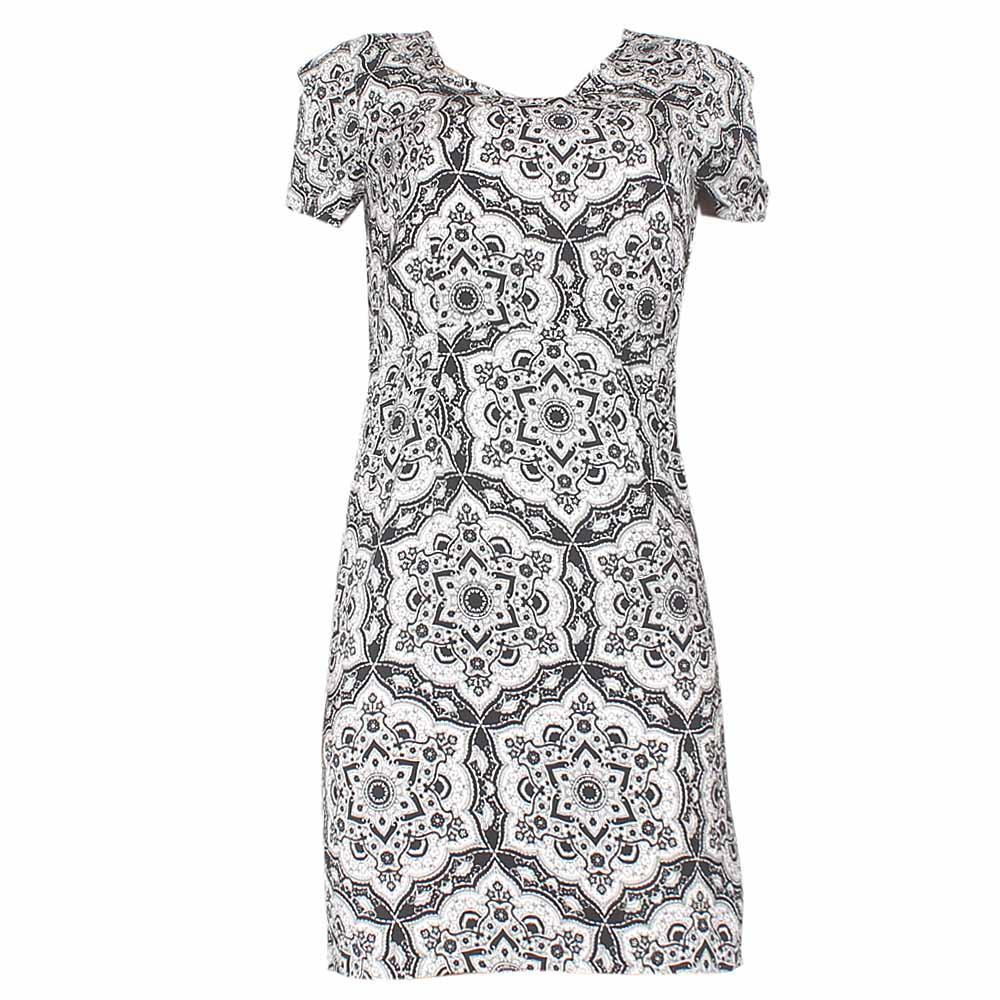 Marks & Spencer Black/White Pattern Ladies Dress-UK 8