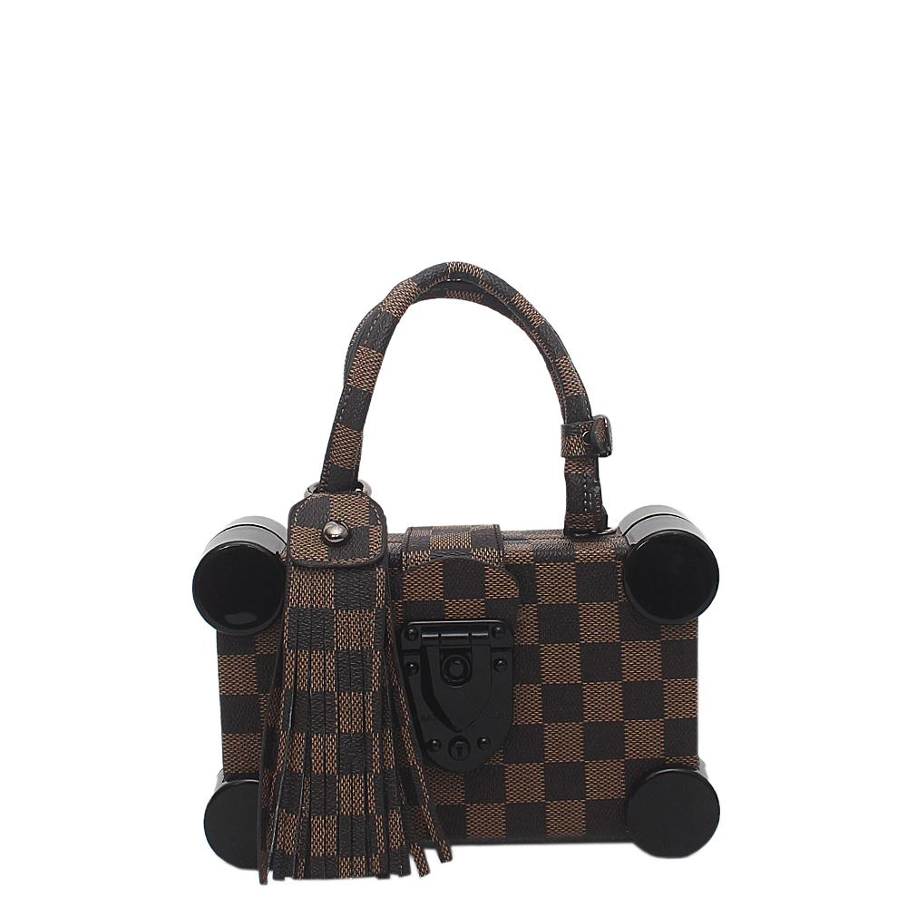 Brown Leather Petite Malle Bag