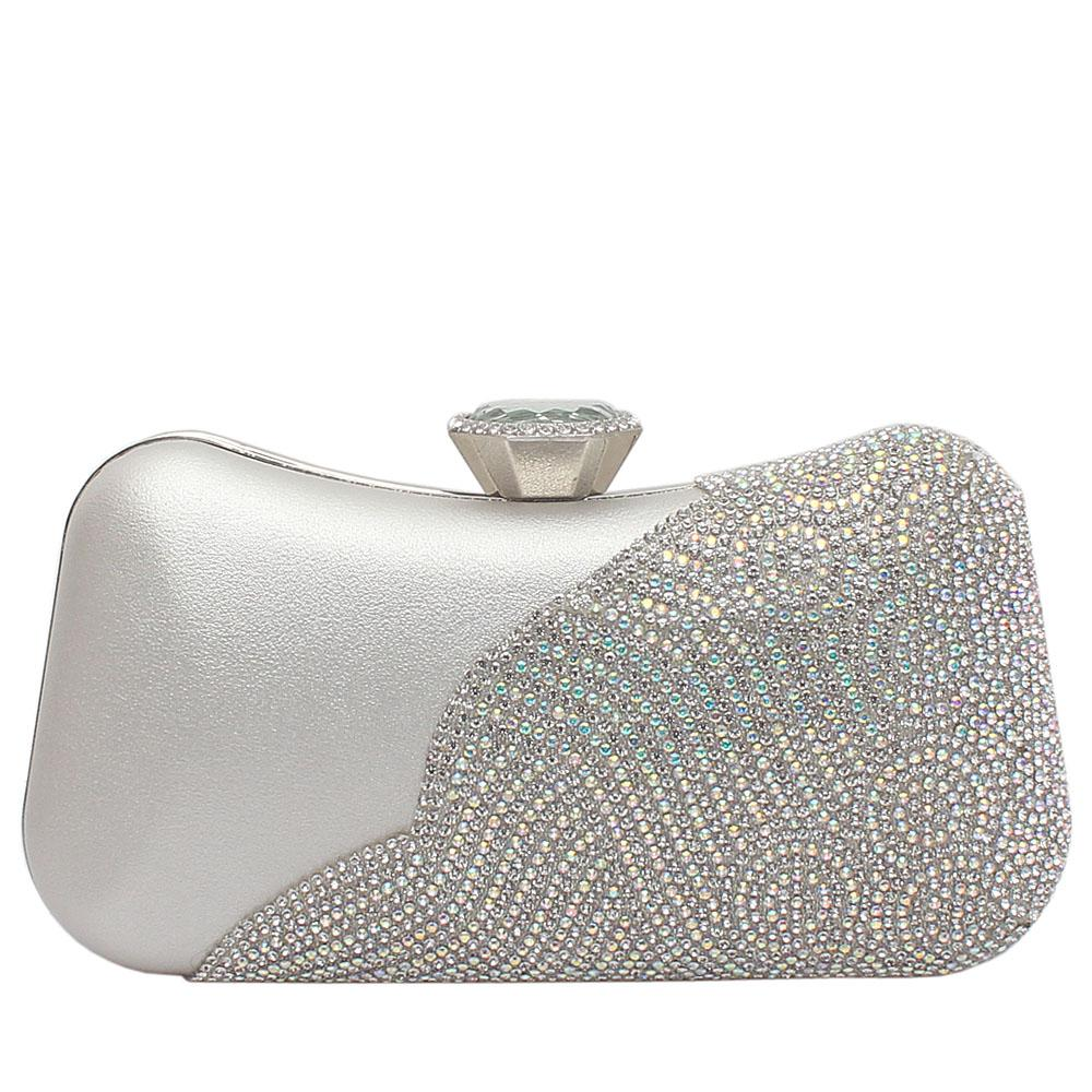 Silver Leather Studded Premium Hard Clutch
