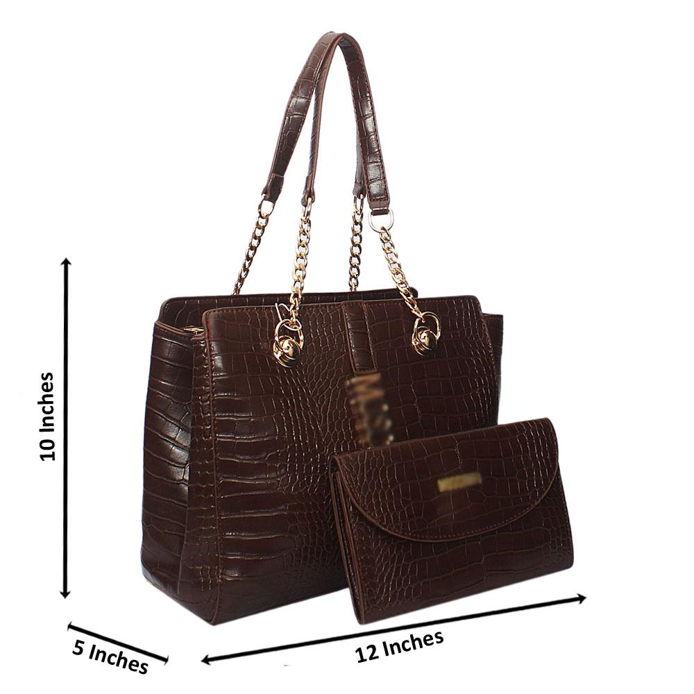 Coffee Amora Croc Leather Chain Shoulder Bag