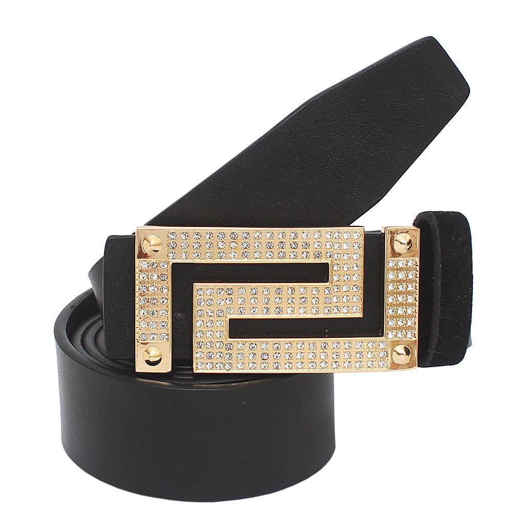 Gold Black Premium Leather Men Belt L 46 Inches