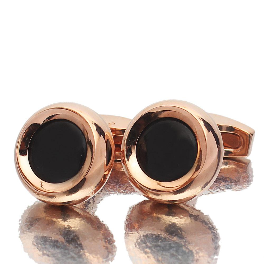 Rose Gold Black Pearl Stainless Steel Cufflinks