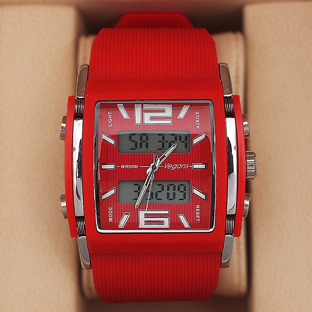 Vegans Red Rubber Water Resistant 50M Analog-Digital Watch