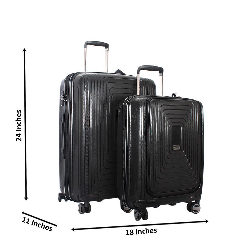 Black 24 Inch wt 20 Inch 2 in 1 ABS Shell Luggage Set Wt TSA Lock