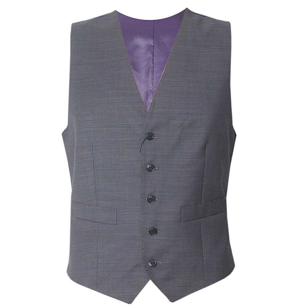 M & S Gray Cotton Tailored Fit Men Performance Waistcoat