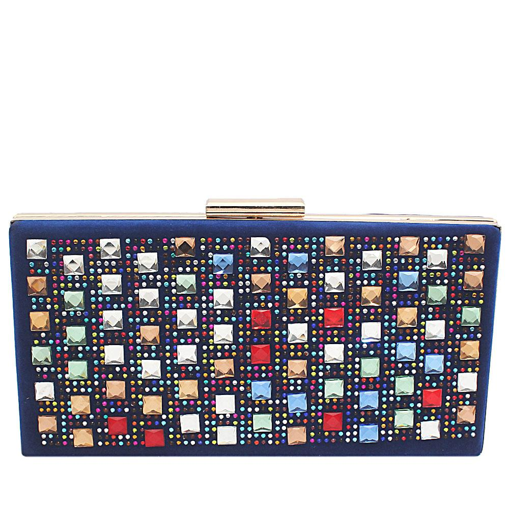 Blue Suede Studded Hard Clutch Purse