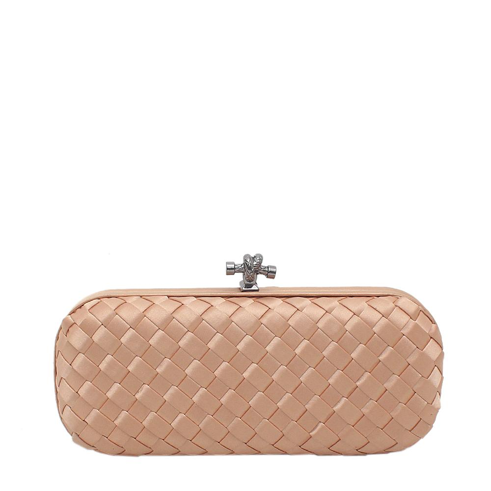 Bottega Veneta Gold Satin Clutch Purse