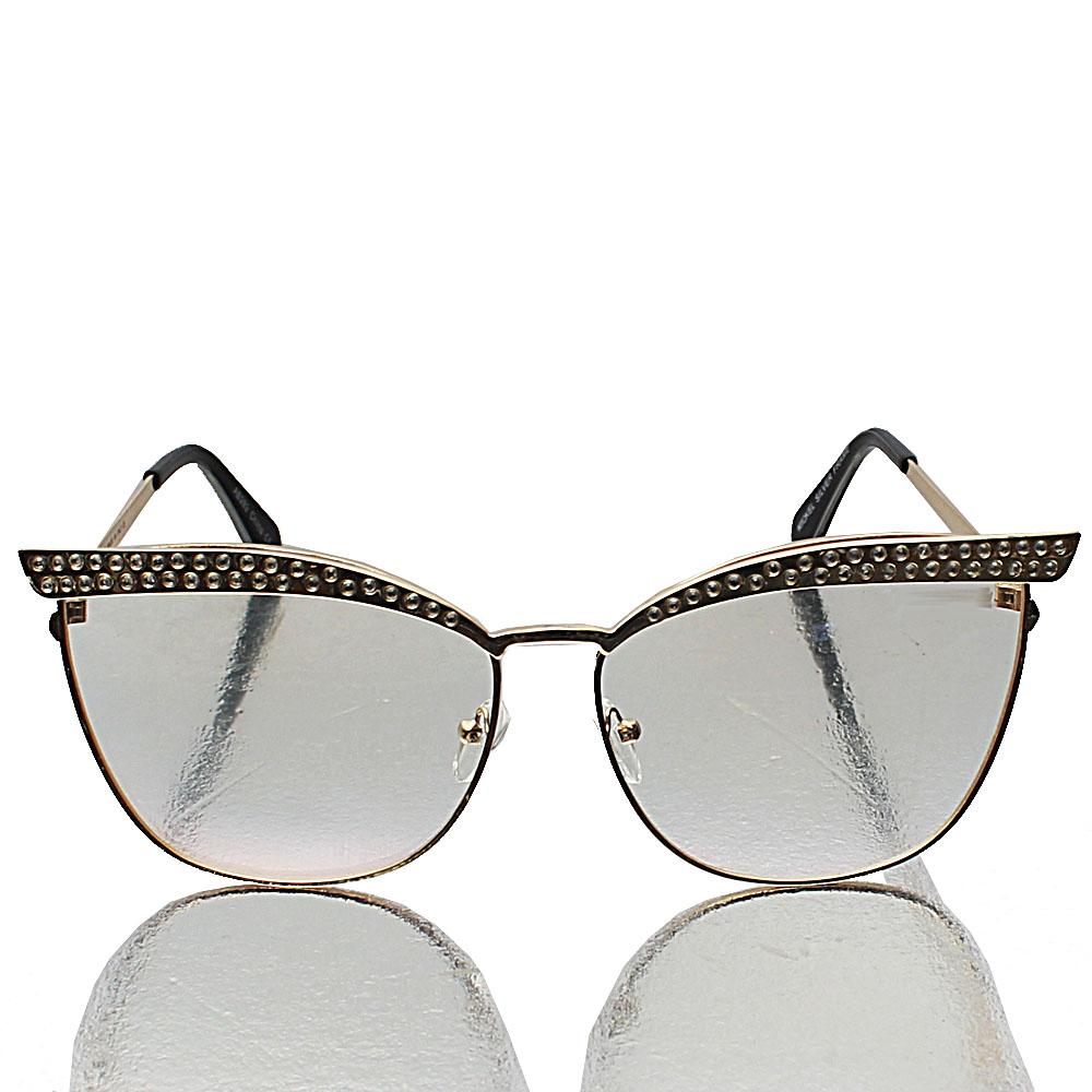 Gold Cat Eye Transparent Lens Glasses