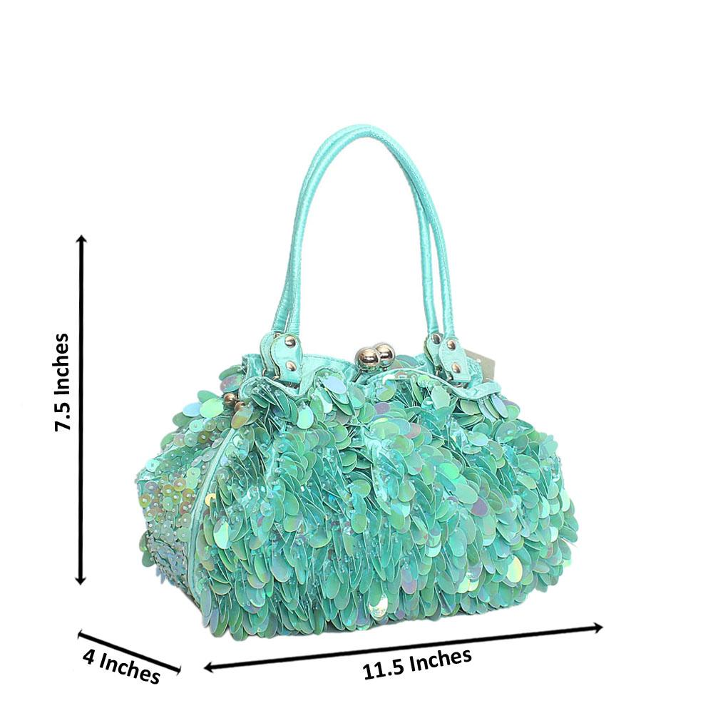 Turquoise Green Babette Sequins Fabric Clutch Style Bag