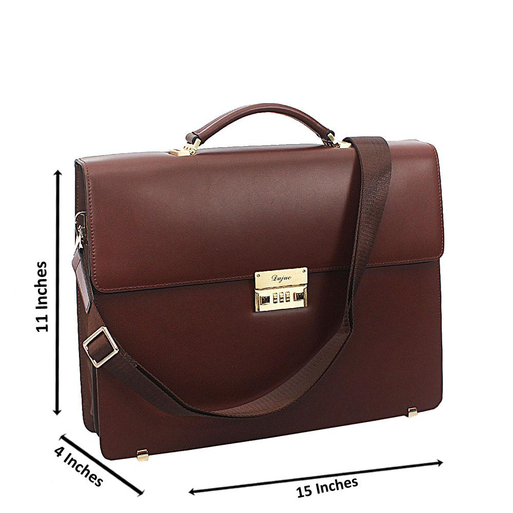 Brown Smooth Cowhide Leather Briefcase wt Front Lock