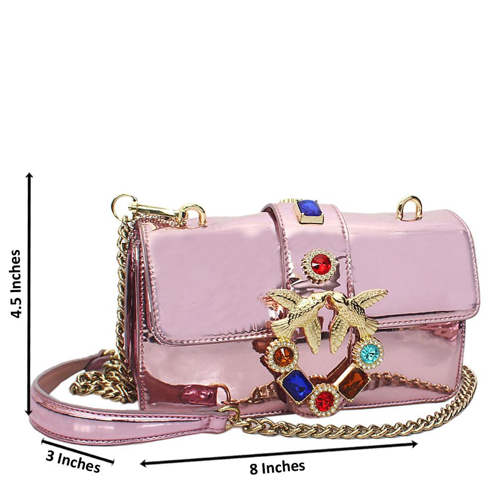 Pink Ice Patent Leather Crossbody Handbag