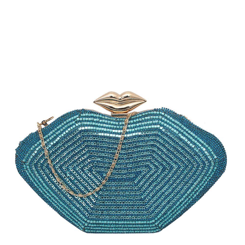 Fashion Sky Blue Studded Jewelry Embellished Clutch Purse