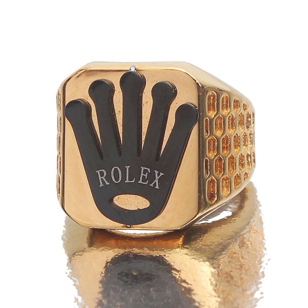 Fashion Black Logo Gold Ring