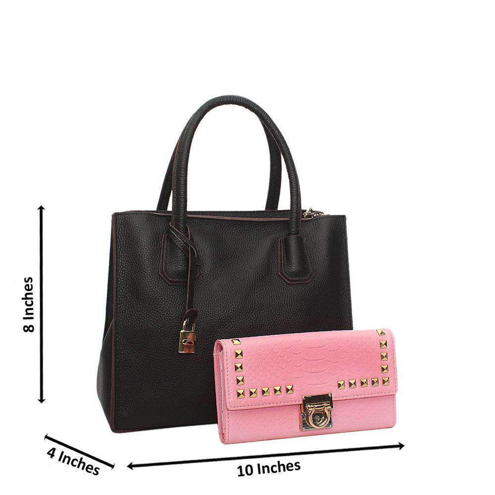 Black Ivy Leather Small Tote Handbag Wt Free Purse