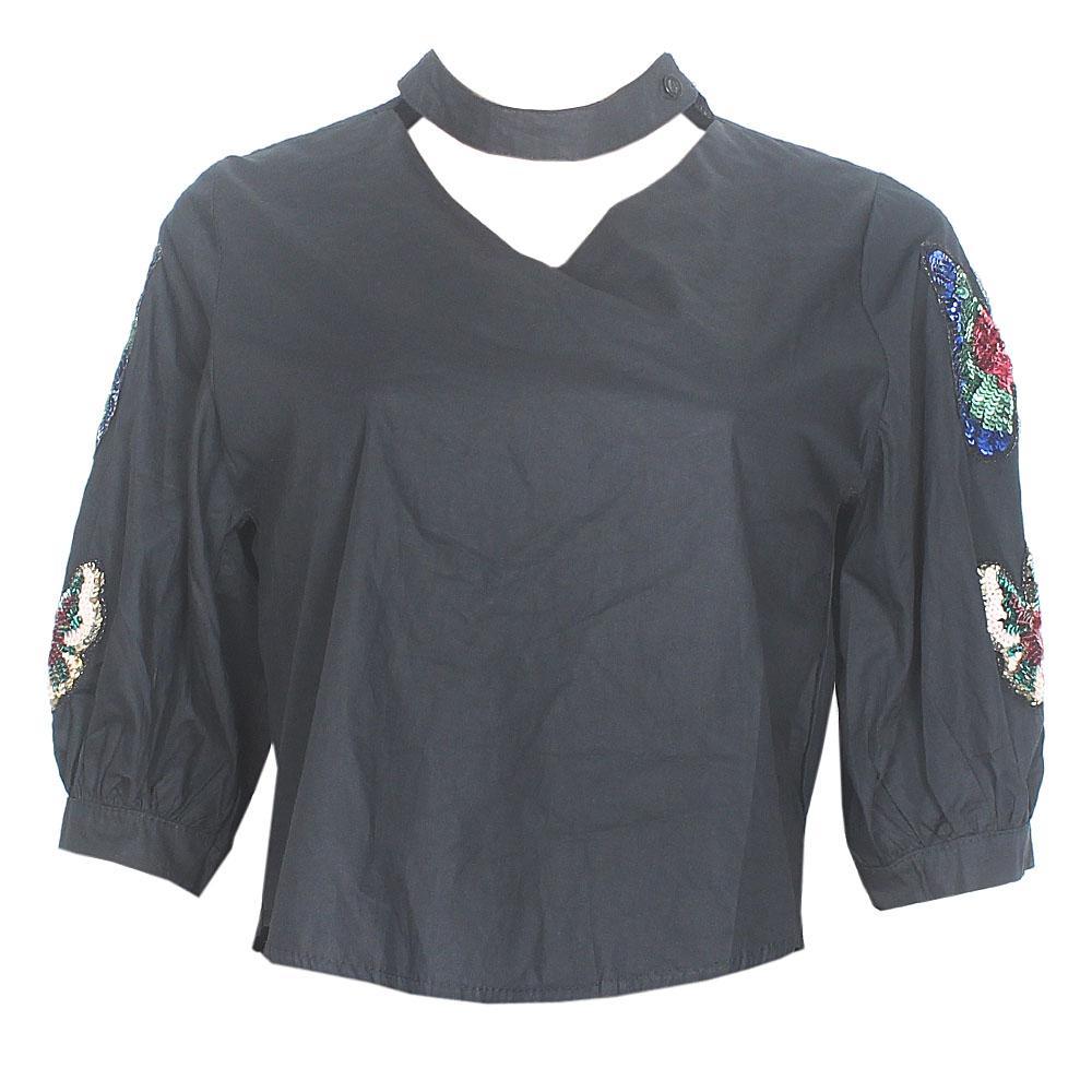 Black Sequins Cotton Ladies Flare Crop Top
