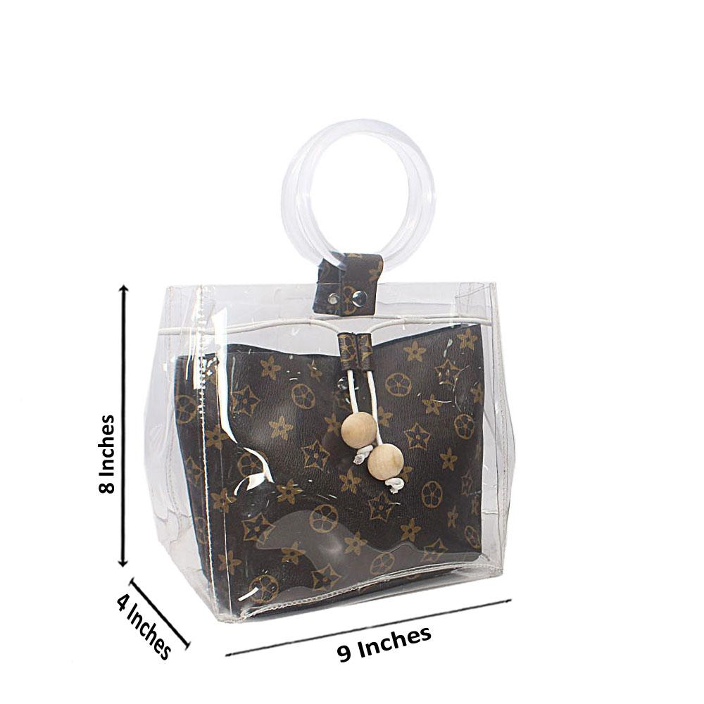 Brown Transparent Ice Rubber Leather Mini Bag